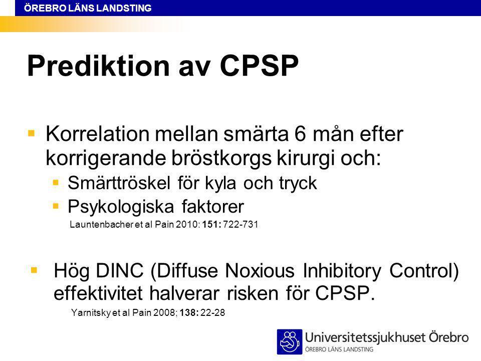 Prediktion av CPSP Korrelation mellan smärta 6 mån efter korrigerande bröstkorgs kirurgi och: Smärttröskel för kyla och tryck.