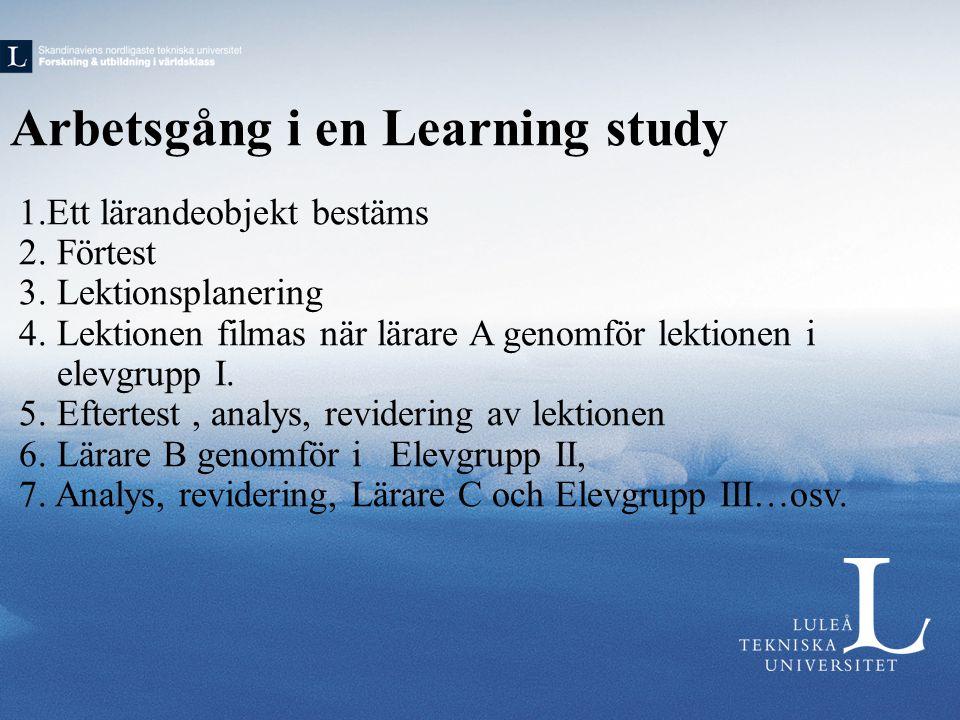 Arbetsgång i en Learning study
