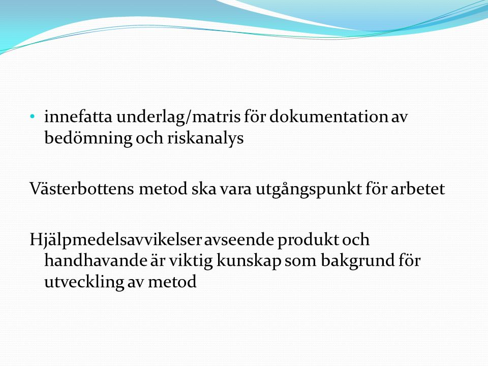 innefatta underlag/matris för dokumentation av bedömning och riskanalys