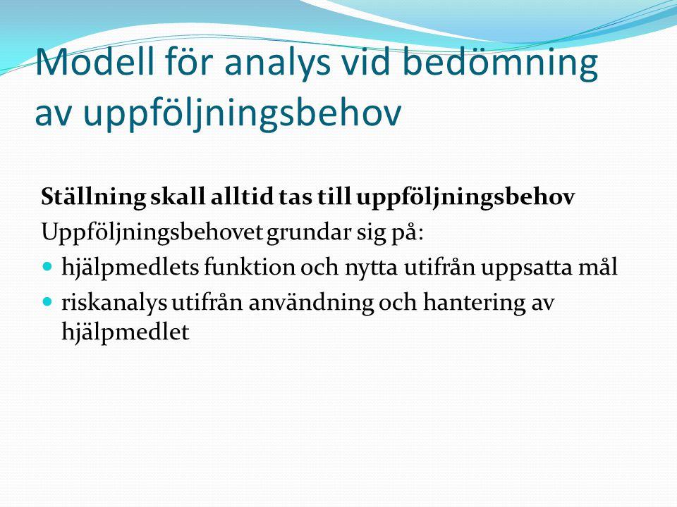 Modell för analys vid bedömning av uppföljningsbehov