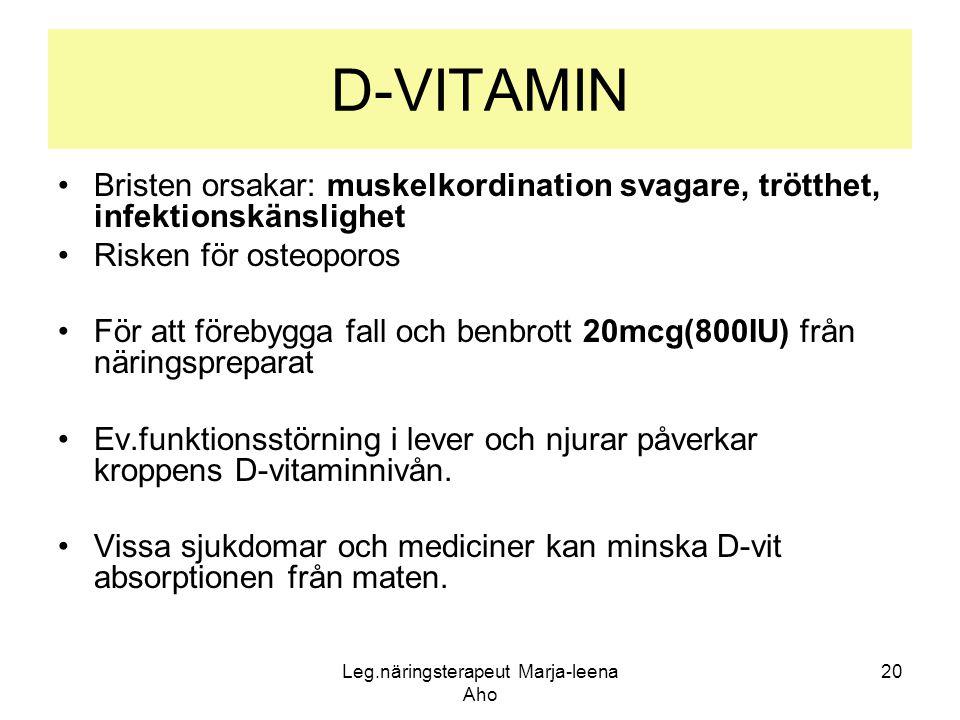 Leg.näringsterapeut Marja-leena Aho