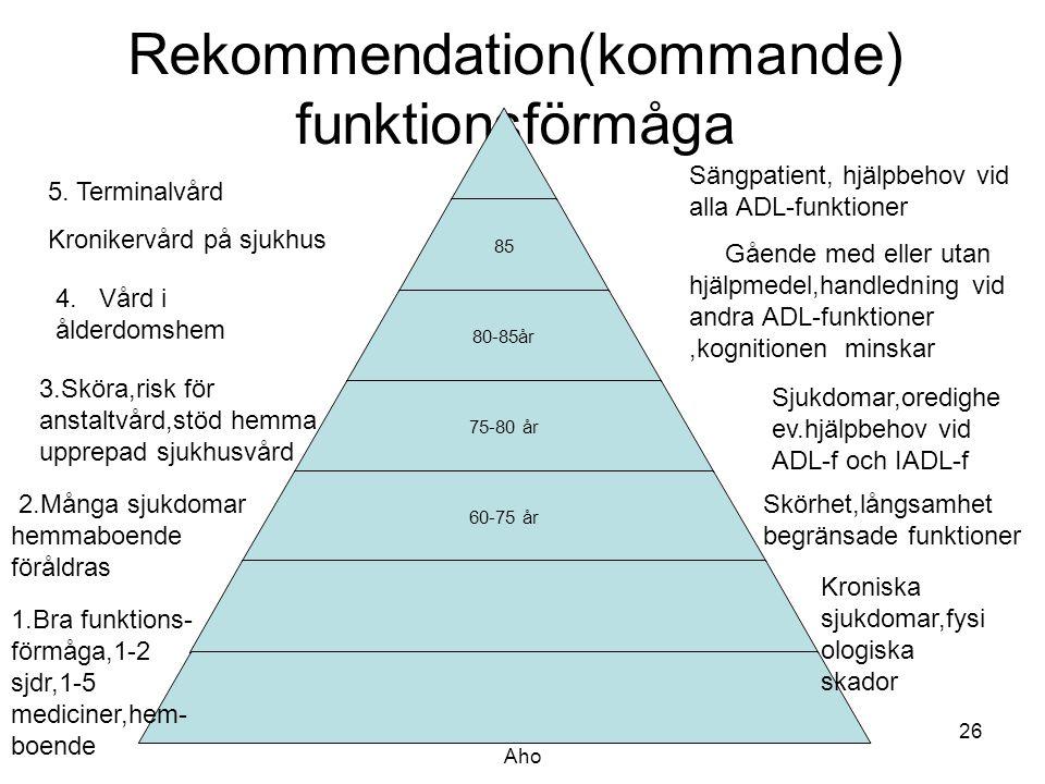 Rekommendation(kommande) funktionsförmåga