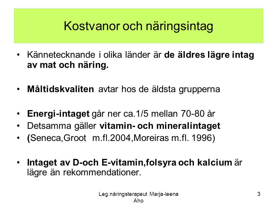 Kostvanor och näringsintag