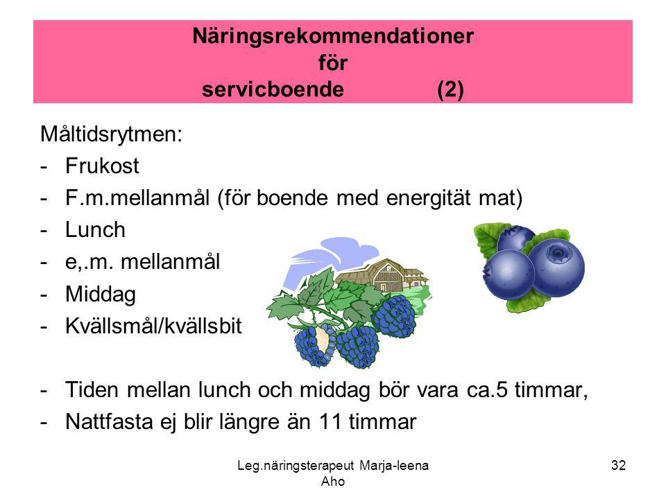 Näringsrekommendationer för servicboende (2)