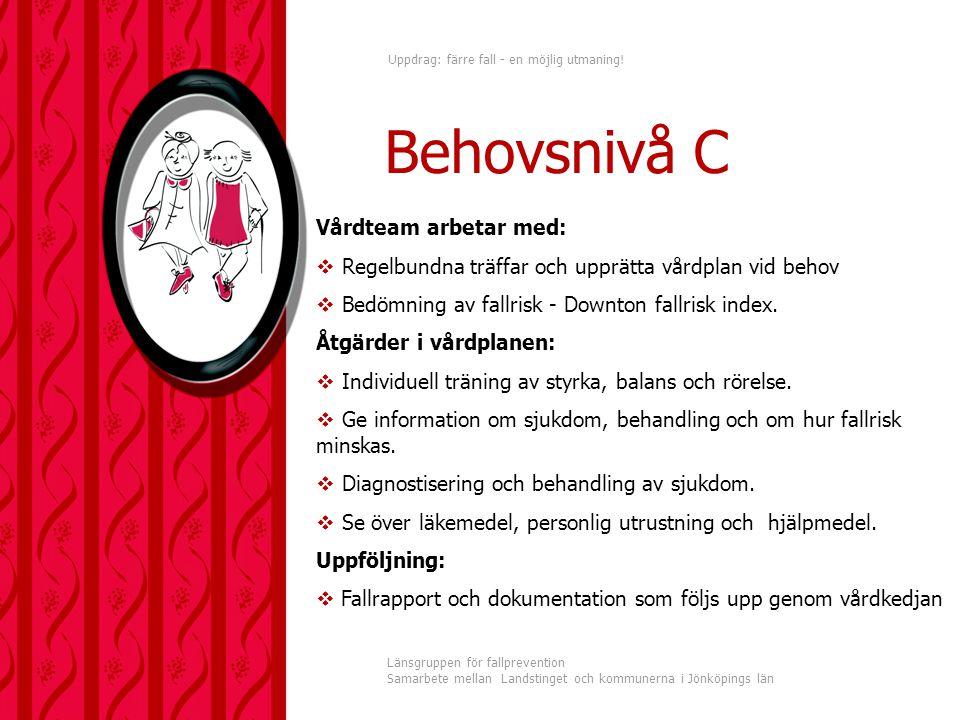 Behovsnivå C Vårdteam arbetar med: