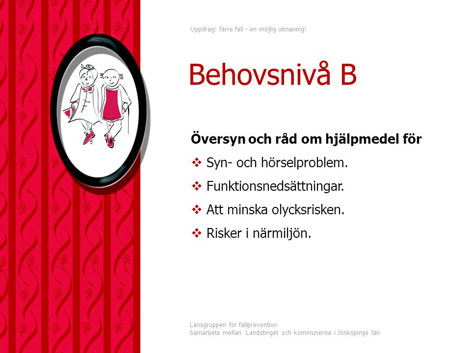 Behovsnivå B Översyn och råd om hjälpmedel för Syn- och hörselproblem.