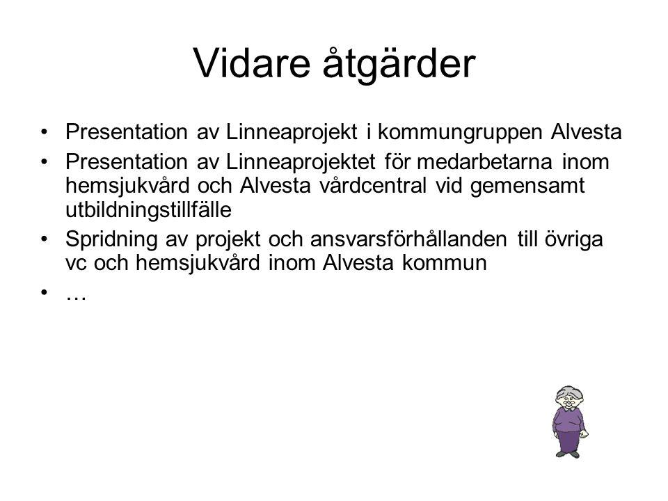 Vidare åtgärder Presentation av Linneaprojekt i kommungruppen Alvesta