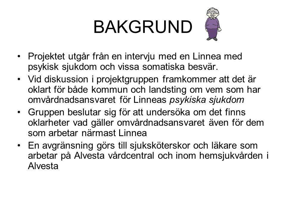 BAKGRUND Projektet utgår från en intervju med en Linnea med psykisk sjukdom och vissa somatiska besvär.