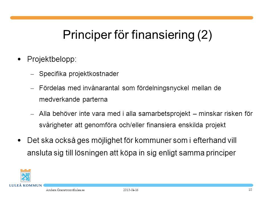 Principer för finansiering (2)