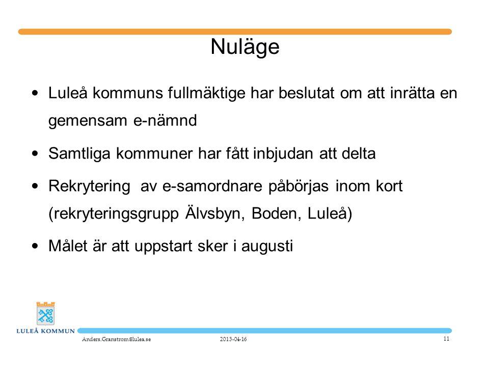 Nuläge Luleå kommuns fullmäktige har beslutat om att inrätta en gemensam e-nämnd. Samtliga kommuner har fått inbjudan att delta.