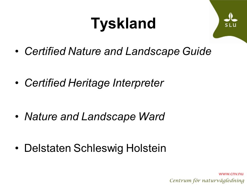 Tyskland Certified Nature and Landscape Guide