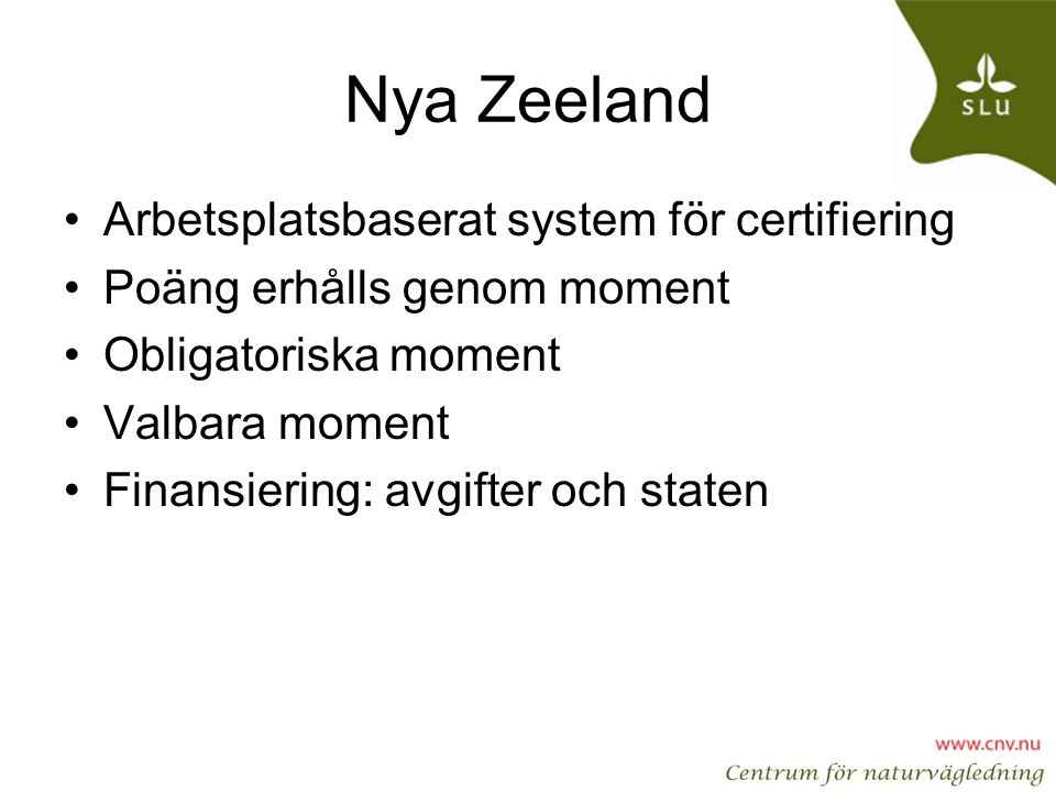 Nya Zeeland Arbetsplatsbaserat system för certifiering