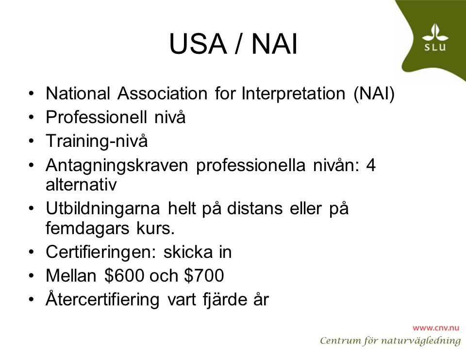 USA / NAI National Association for Interpretation (NAI)