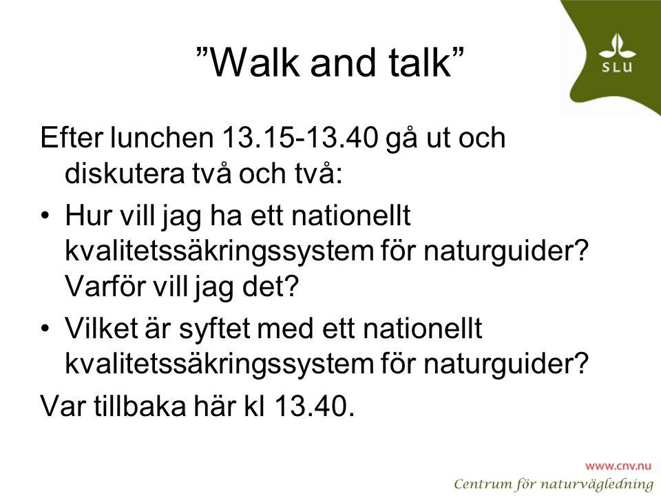 Walk and talk Efter lunchen 13.15-13.40 gå ut och diskutera två och två: