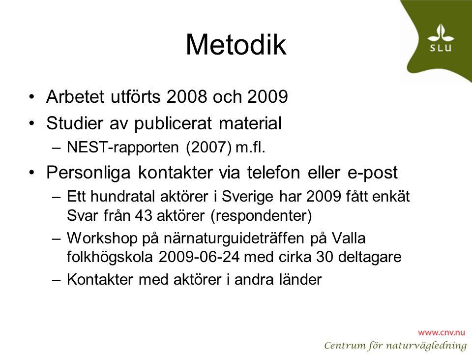 Metodik Arbetet utförts 2008 och 2009 Studier av publicerat material