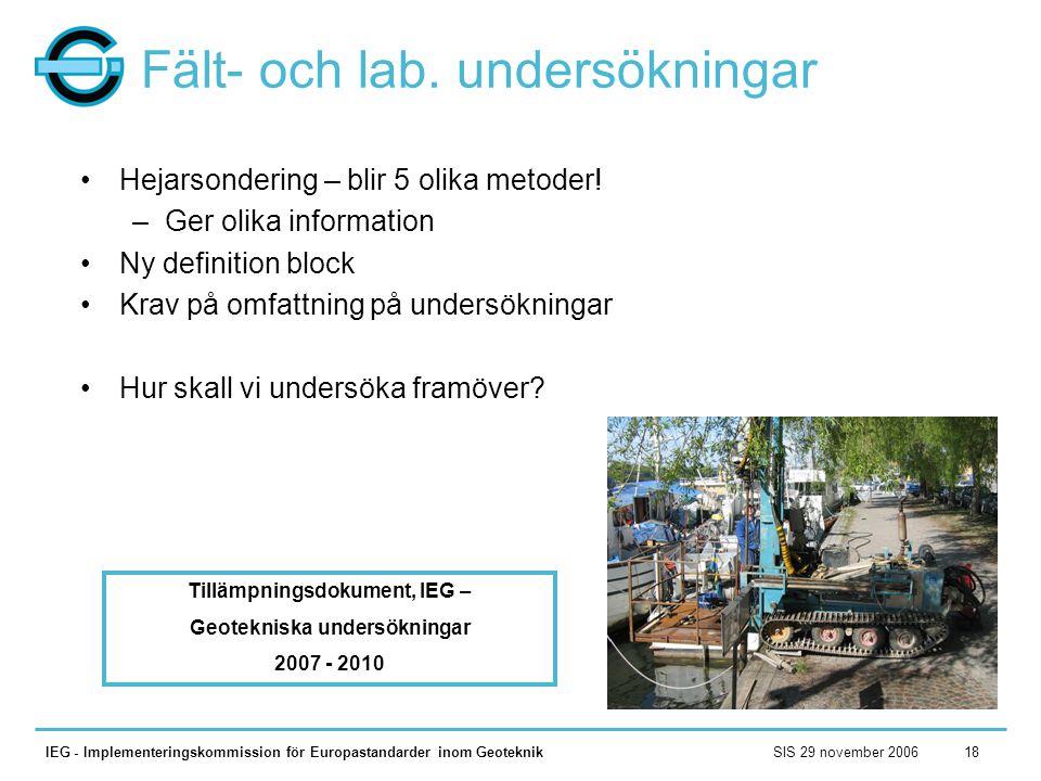 Fält- och lab. undersökningar
