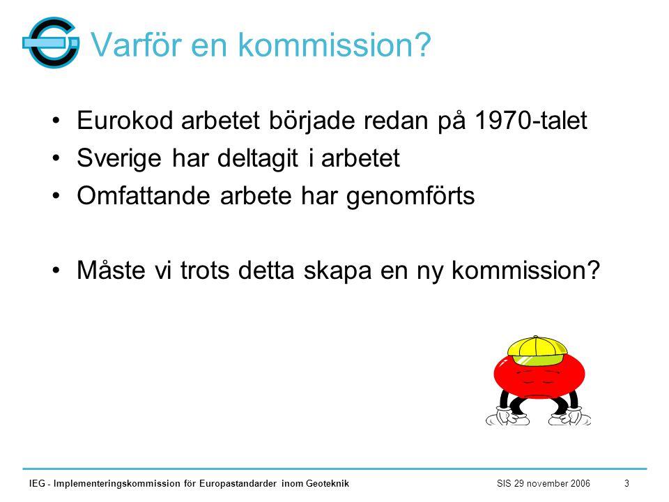 Varför en kommission Eurokod arbetet började redan på 1970-talet