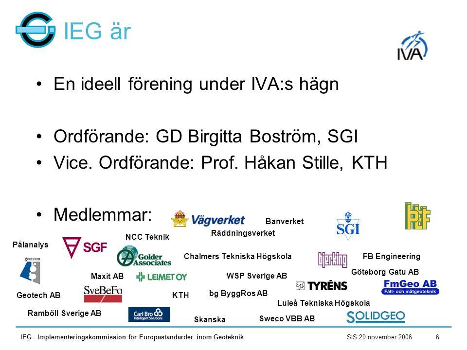 IEG är En ideell förening under IVA:s hägn