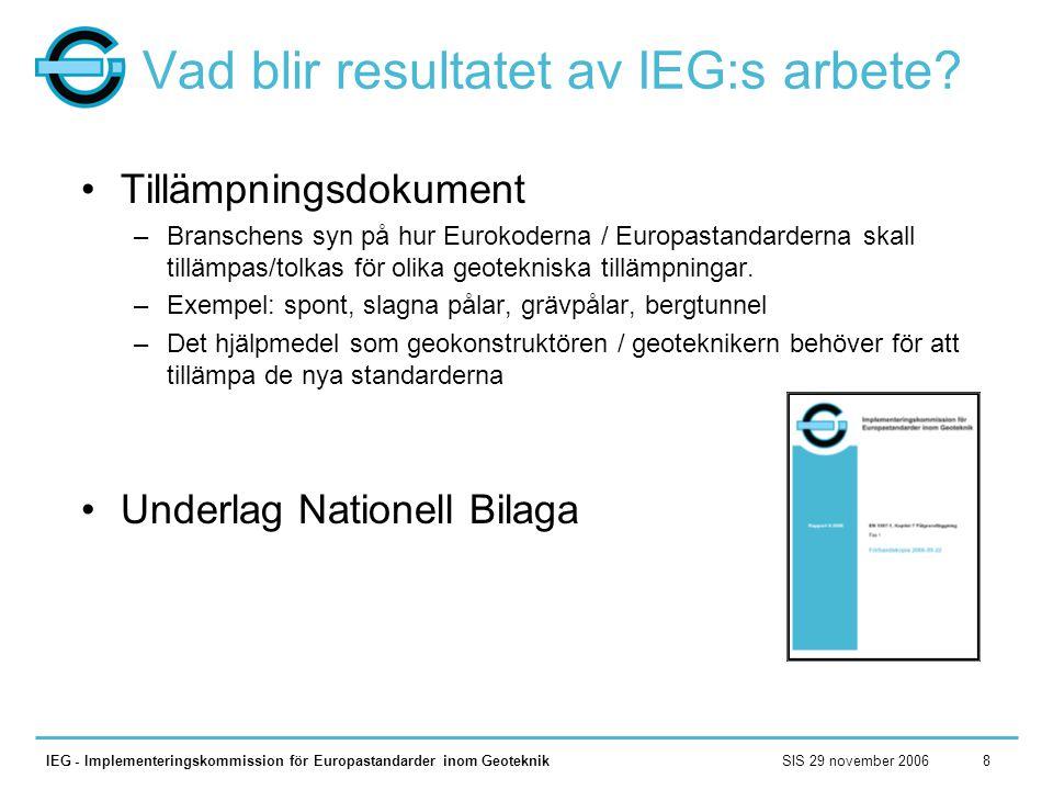 Vad blir resultatet av IEG:s arbete