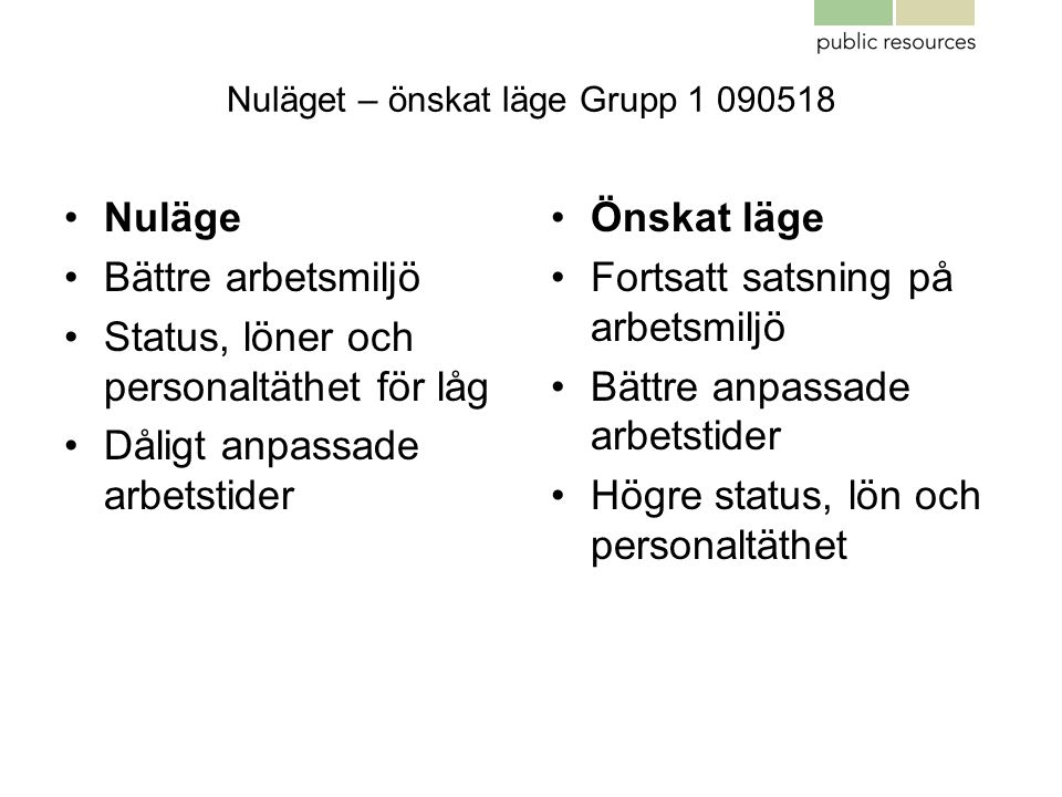 Nuläget – önskat läge Grupp 1 090518
