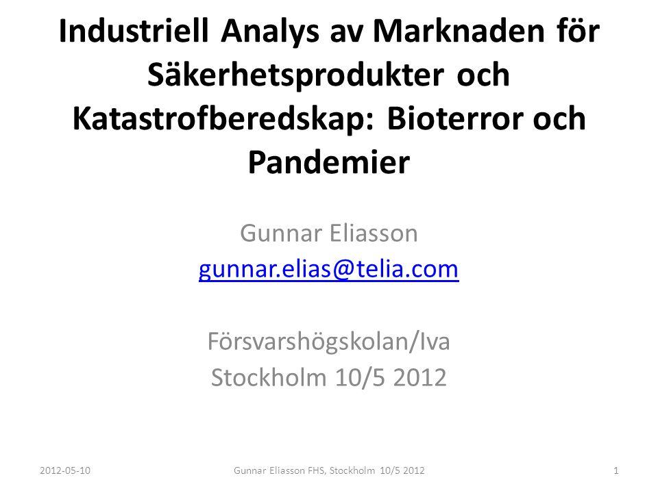Industriell Analys av Marknaden för Säkerhetsprodukter och Katastrofberedskap: Bioterror och Pandemier