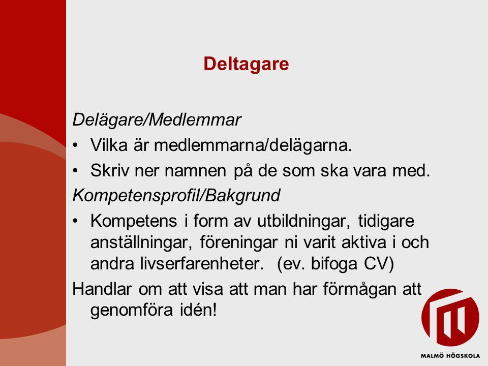Deltagare Delägare/Medlemmar Vilka är medlemmarna/delägarna.