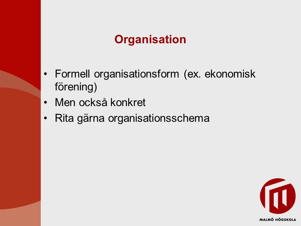 Organisation Formell organisationsform (ex. ekonomisk förening)