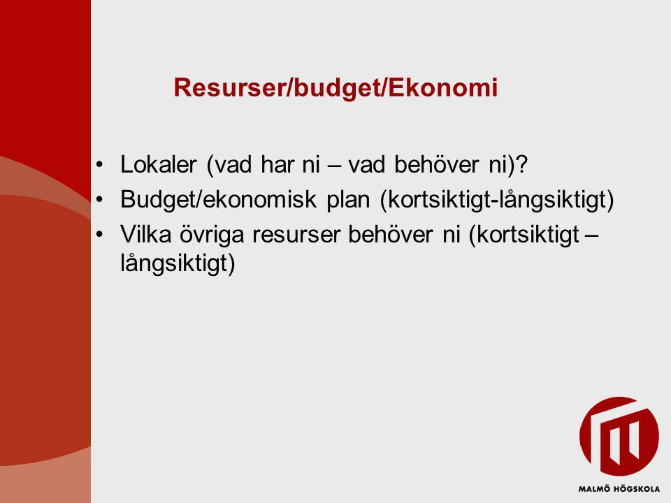 Resurser/budget/Ekonomi