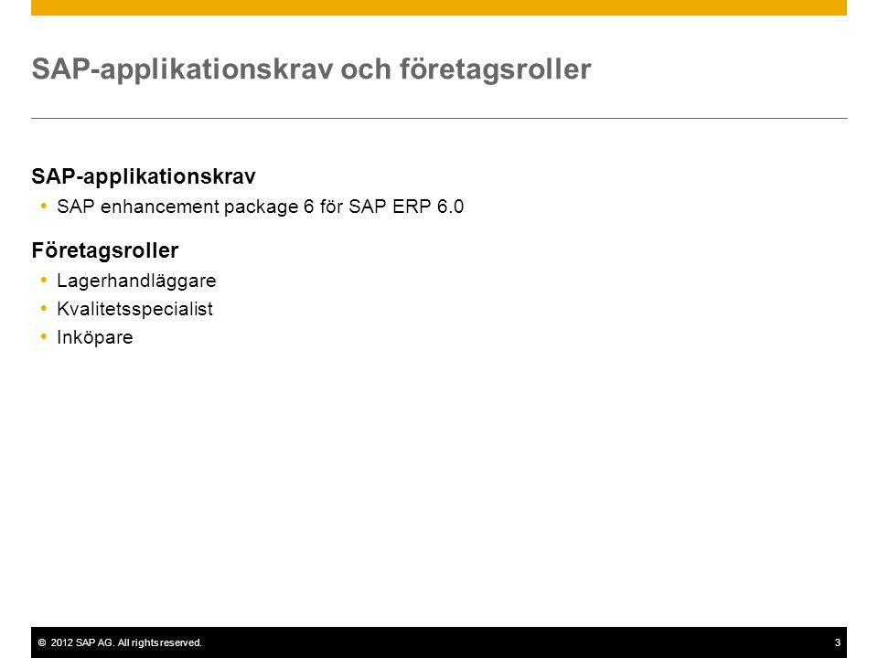 SAP-applikationskrav och företagsroller
