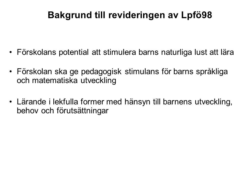 Bakgrund till revideringen av Lpfö98