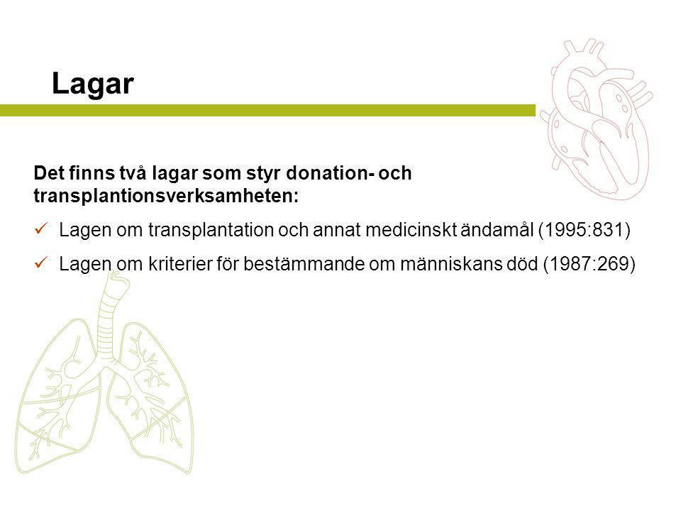 Lagar Det finns två lagar som styr donation- och
