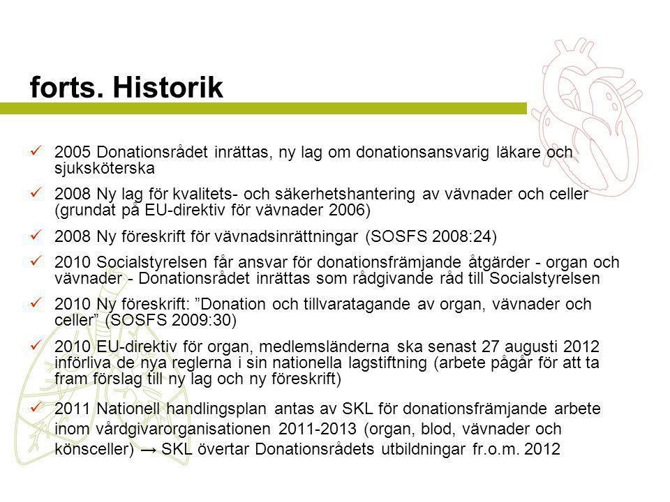 forts. Historik 2005 Donationsrådet inrättas, ny lag om donationsansvarig läkare och sjuksköterska.