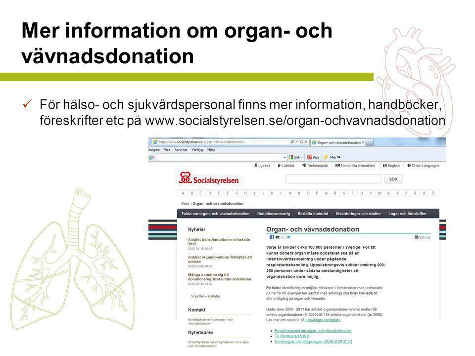 Mer information om organ- och vävnadsdonation