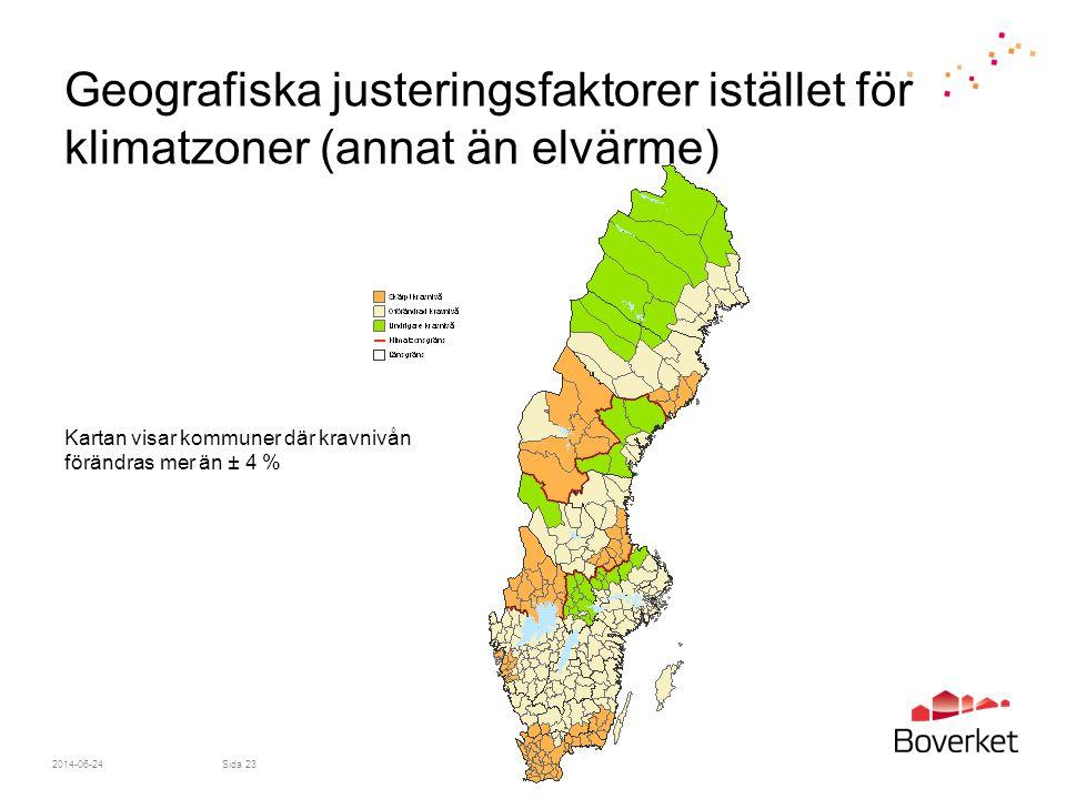 Geografiska justeringsfaktorer istället för klimatzoner (annat än elvärme)