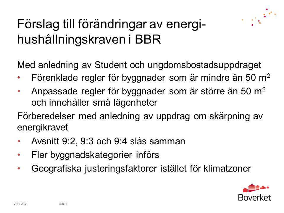Förslag till förändringar av energi-hushållningskraven i BBR