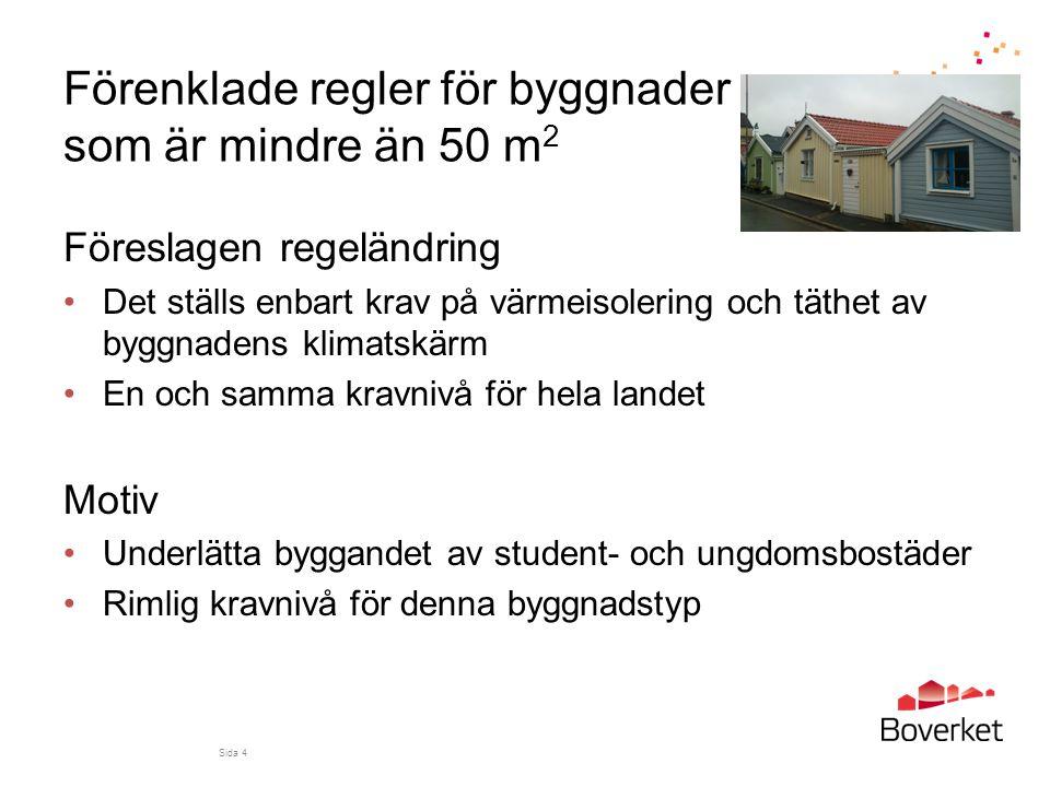 Förenklade regler för byggnader som är mindre än 50 m2