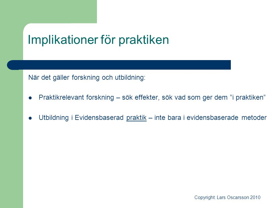 Implikationer för praktiken