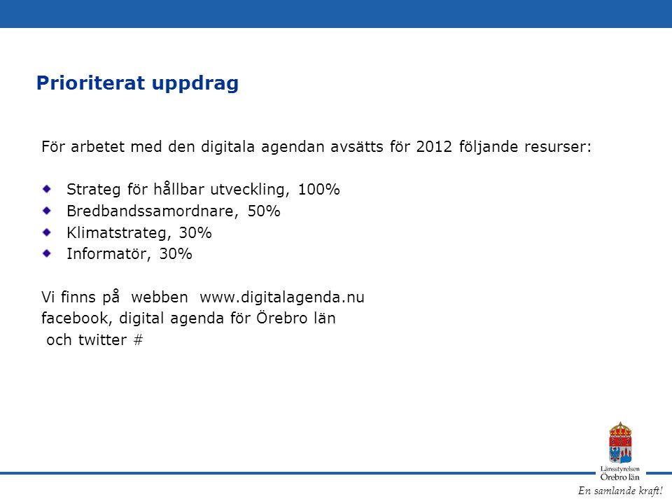 Prioriterat uppdrag För arbetet med den digitala agendan avsätts för 2012 följande resurser: Strateg för hållbar utveckling, 100%