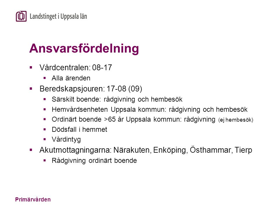 Ansvarsfördelning Vårdcentralen: 08-17 Beredskapsjouren: 17-08 (09)