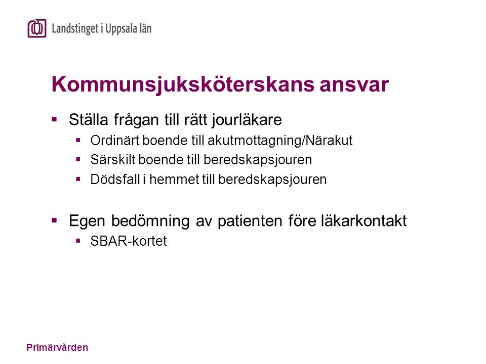 Kommunsjuksköterskans ansvar