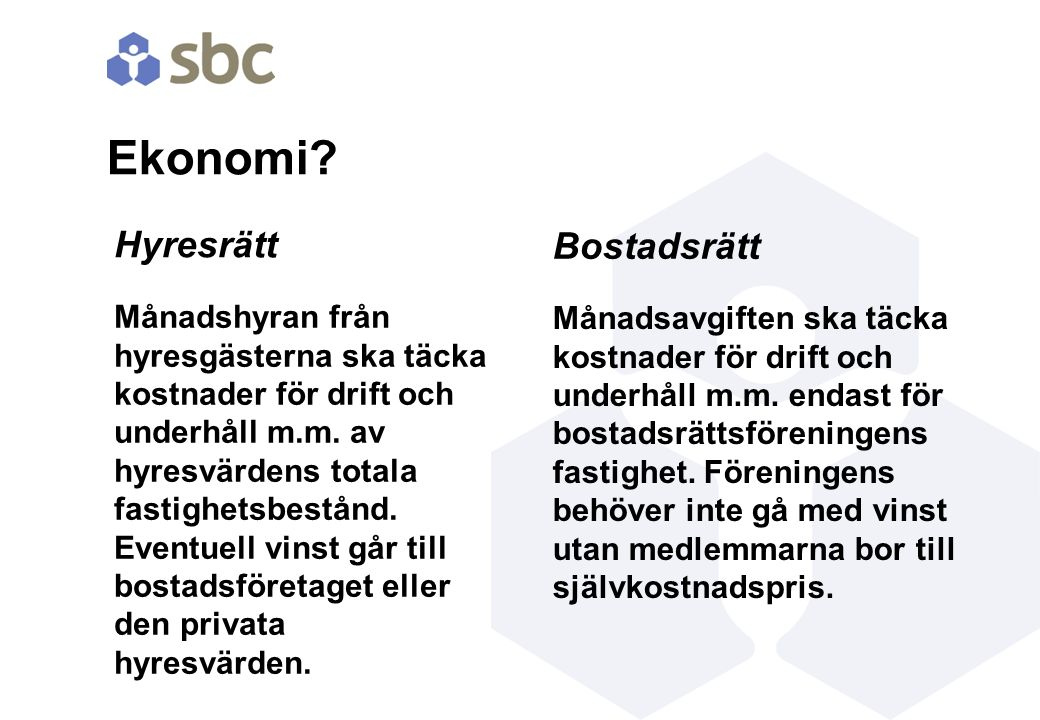 Ekonomi Hyresrätt Bostadsrätt