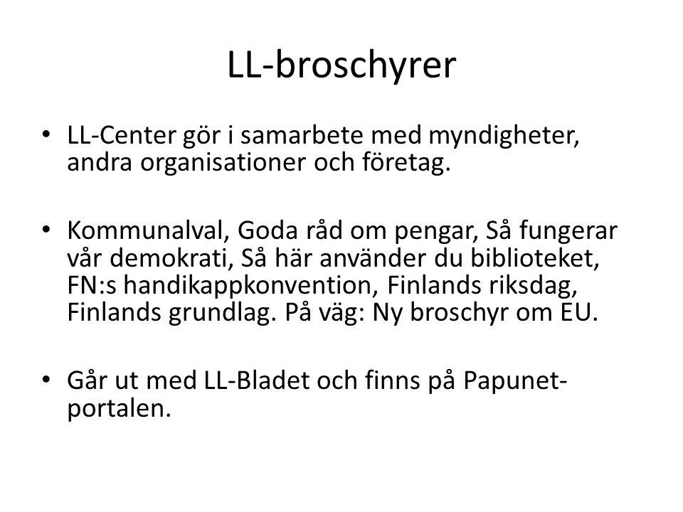 LL-broschyrer LL-Center gör i samarbete med myndigheter, andra organisationer och företag.
