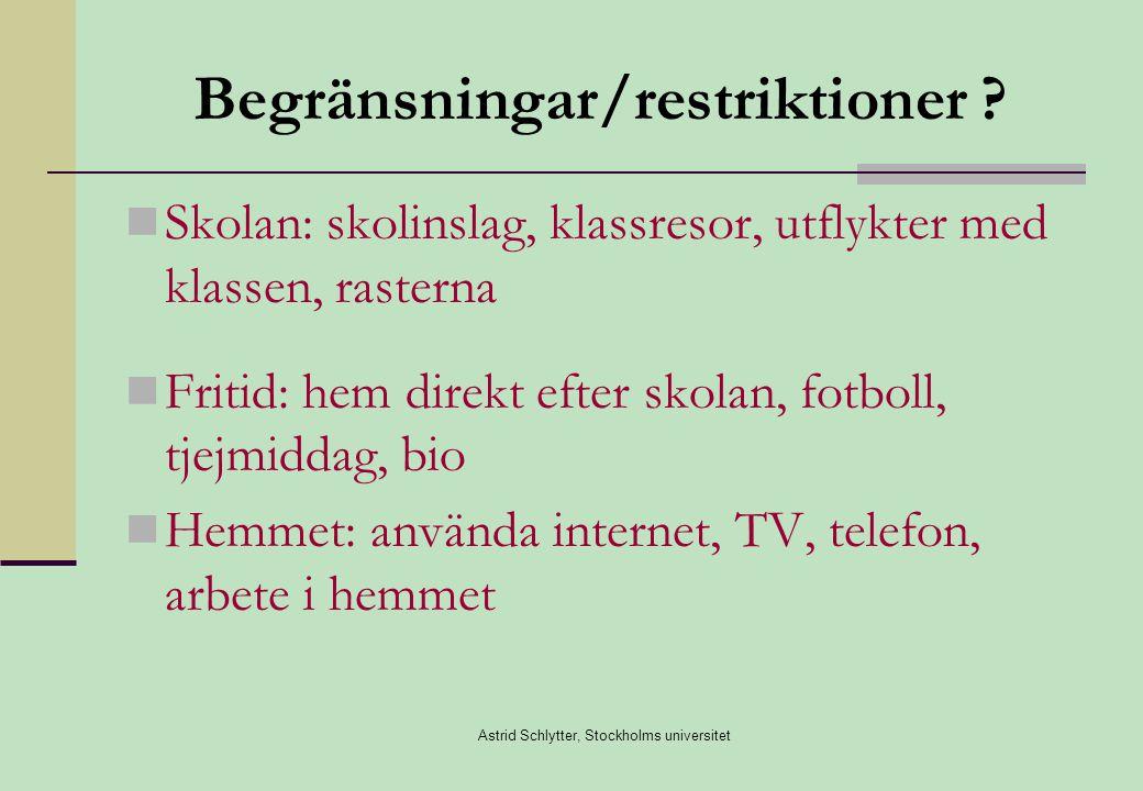 Begränsningar/restriktioner