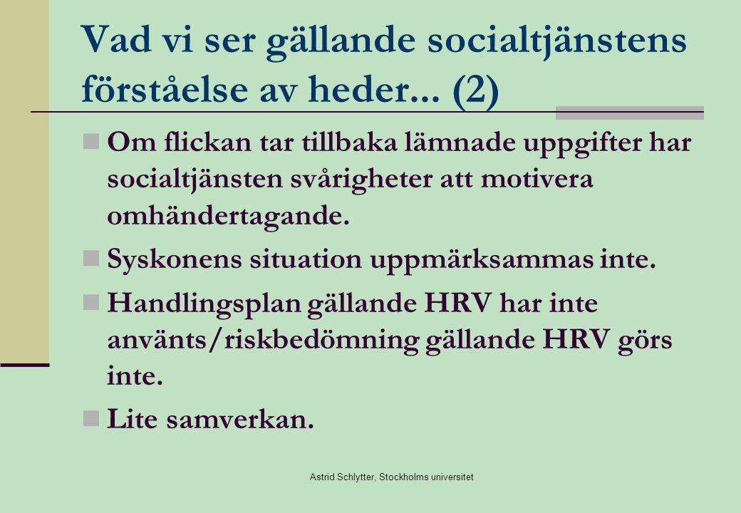 Vad vi ser gällande socialtjänstens förståelse av heder... (2)