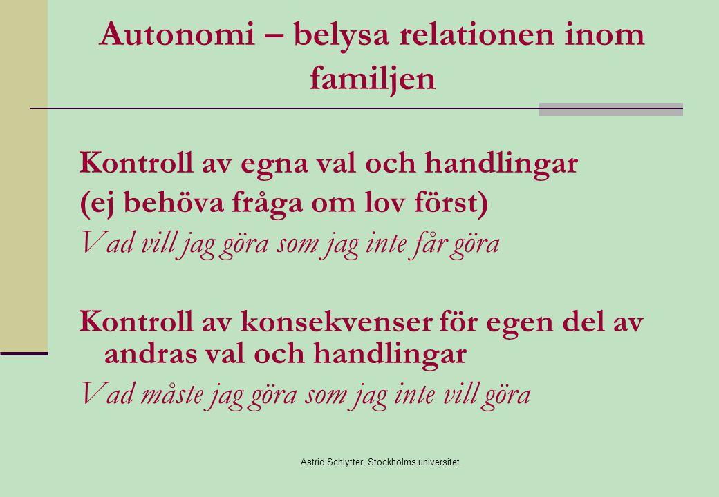 Autonomi – belysa relationen inom familjen