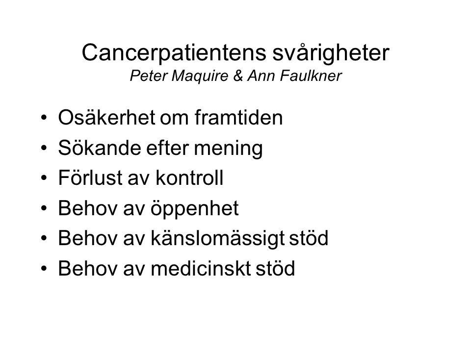 Cancerpatientens svårigheter Peter Maquire & Ann Faulkner