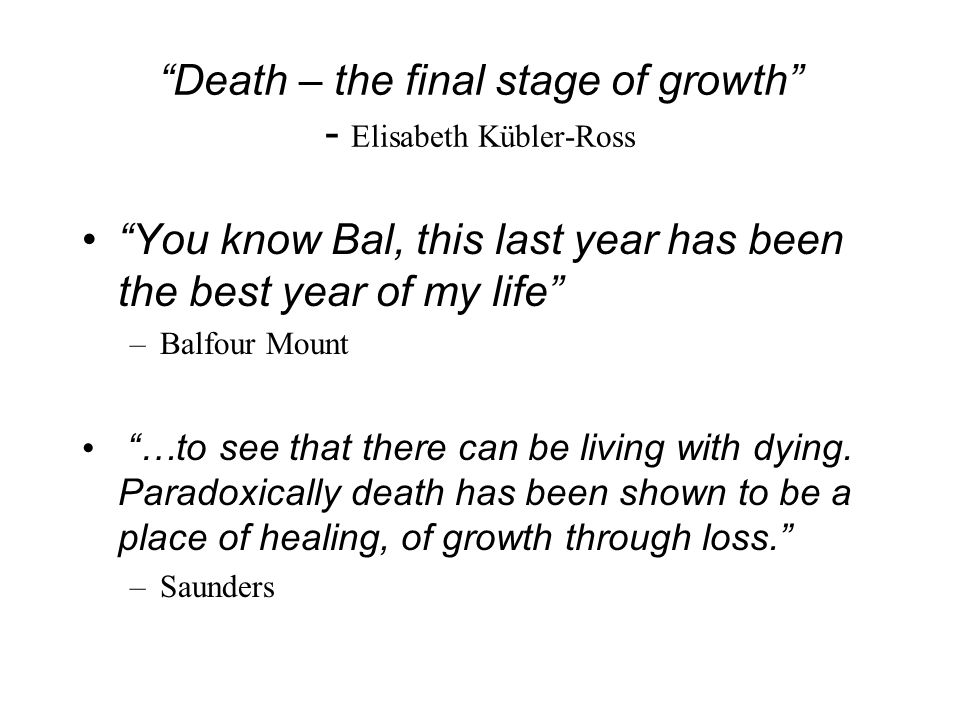 Death – the final stage of growth - Elisabeth Kübler-Ross