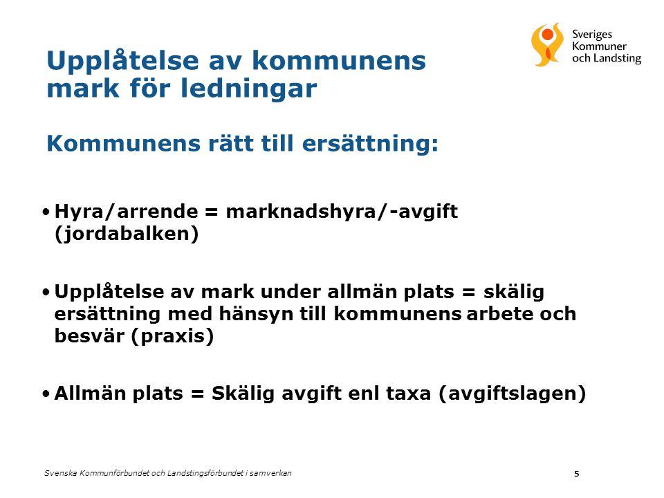 Upplåtelse av kommunens mark för ledningar Kommunens rätt till ersättning: