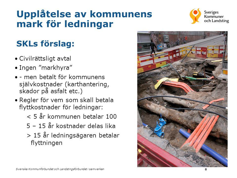 Upplåtelse av kommunens mark för ledningar SKLs förslag: