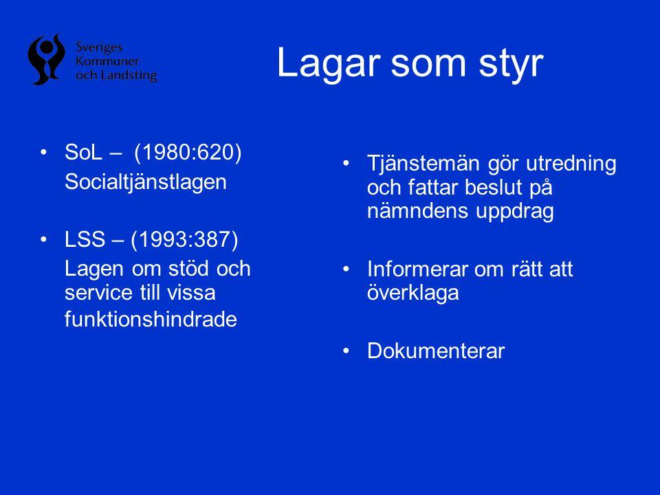 Lagar som styr SoL – (1980:620) Socialtjänstlagen